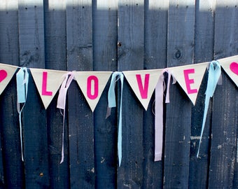 Love Fabric Bunting Banner