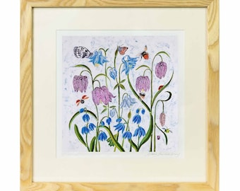 Snakeshead Fritillaries Print - Limited edition print of batik, flowers print, flowers and butterflies print, wild flower print, wild flower