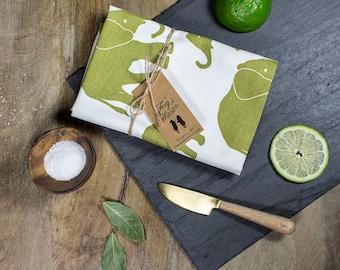 Citron Green Elephant Tea Towel - GOTS Certified Dish Towel - Organic Cotton Kitchen Towel - Elephants - Tea Towels - Dish Towels