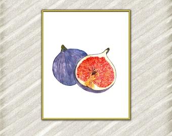 Fig print watercolor print Fruit print Kitchen wall decor Home Decor Fig Poster Digital Art Print Tropical Print watercolor painting