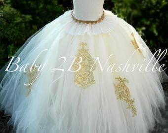 Gold Wedding Dress Tutu Skirt Women's Full Length Tulle Skirt Formal Dress Bridal Gowns and Separates Ivory and Gold Bridal Tutu Skirt