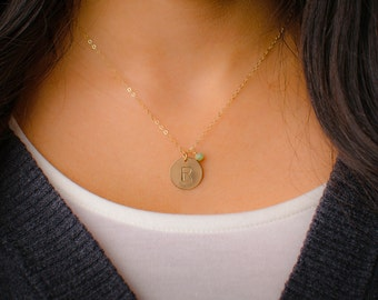 Large Gold Initial Necklace with Birthstone CHOOSE GEMSTONE- 14k Gold Filled 15mm Disc, Personalized Necklace, Large Pendant