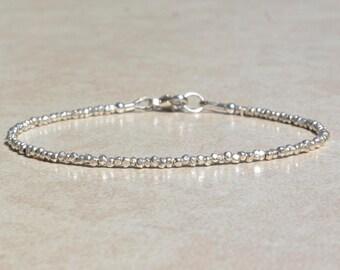Karen Hill Tribe Silver Bracelet, Beaded Stacking Bracelet, Gift for Her, Delicate Dainty Silver Bracelet, Simple Stacking Bracelet, Gift