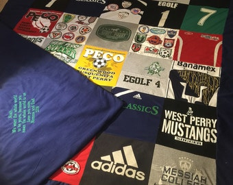 Soccer T-shirt Memory Blanket with Patches and Embroidery