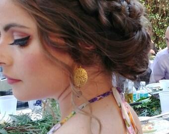 Purple Bridesmaid Earrings, Gold Filigree Earrings, Purple Earrings, Amethyst Earrings, Wedding Jewelry Boho, Purple Bridesmaid Jewelry