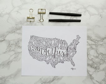 United States Wanderlust Hand-lettered Calligraphy Print - Wall Art - Home Decor - USA - America - Travel Art - Adventure - Travel Bug