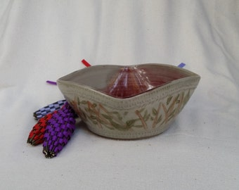 OOAK Square Bowl Carved Bamboo Motif Wheel Thrown