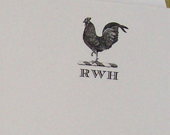Rooster, Chicken, Hen Personalized Monogrammed Notepad Farm Barn Country Black White Vintage Inspired 75 Sheet Note Pad Rustic Gift