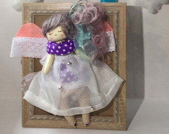 Nursery Design Collage Doll Girl Butterfly Gift