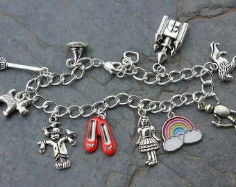 Wizard of Oz Inspired Charm Bracelet- chunky chain- Dorothy, Toto, red slippers, rainbow, tin man, lion, scarecrow, witch -Free Shipping USA
