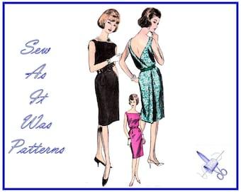 "FF Unused 1960s Vogue 5596 Back Wrap Sleeveless Dress Surplice Bodice Square Neckline Vintage Sewing Pattern Size 12 Bust 32"" 83cm"