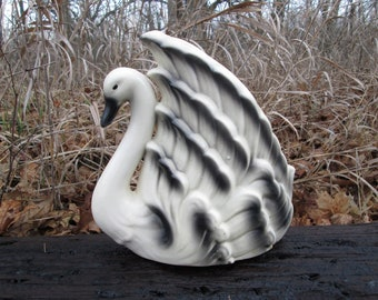 White and Black Ceramic Swan Vintage Planter Indoor Outdoor