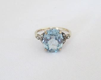 Vintage Sterling Silver Aquamarine & Seed Pearl Ring Size 9