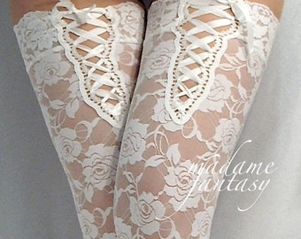 White lace up top lace stockings