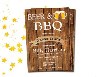 Beer and BBQ College Graduation Party Invitation, Printable Grad Announcement Barbecue Party Invite Rustic Wood, University Grad Party