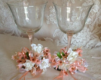Vintage Pink Stem Wedding Toasting Glasses