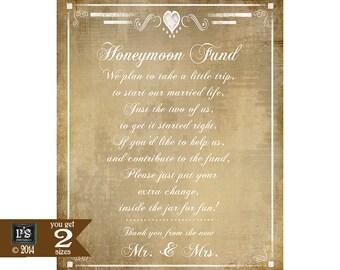 Honeymoon Fund Printable Wedding Sign - DIY Instant Download -  Vintage Heart Collection Version 2