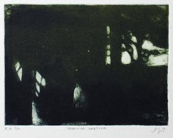 Lurking Demanding - carborundum printmaking art - tiny art - scary art - gothic - dark art - horror movies - forest - graphic art - black
