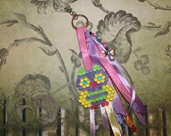 Keychain with beads pattern OWL figurine