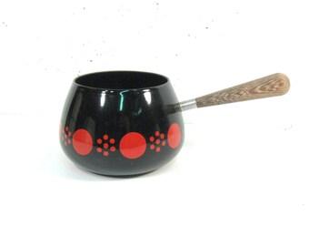 Vintage Enamel fondu pot, black with red dot design