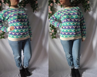 Vintage 80s Hand Loomed Sweater Quirky Sweater 80s New Wave Sweater Pullover Sweater 80s Crew Neck Sweater 80s Blue and Green Cozy Sweater