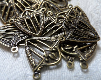 "Vintage gold plate brass blanks sheild blanks,5/8th"",10pcs-CHM267"
