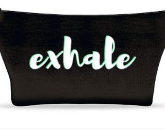 Small Black Inhale Exhale Cosmetic bag with mint outline