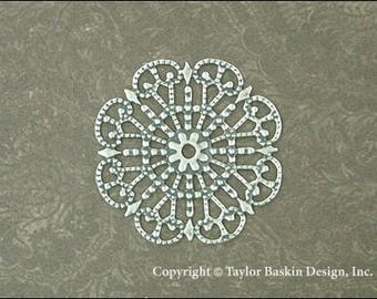Antiqued Sterling Silver Plated Victorian Filigree Circle (item 305 AS) - 6 Pieces