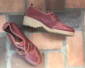 1970er Jahre Vintage Leder süße Treppenpodest Schnalle Schuhe 9