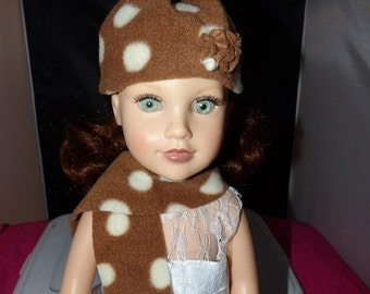 Fleece hat & scarf set in brown and white dots for 18 inch dolls - ag260