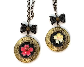 Sakura Necklaces-Set of 2-Best Friends-Bridesmaid Gift-Locket Necklace-Memorial Necklace-Poison Necklace-Flower Necklace-Stash Necklace