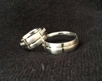 White steel ring, Wedding Ring, Engagement ring, turkish jewelry, zirconia ring, wedding band