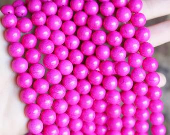 10mm Pink Beads, Magnesite Beads, Round Beads, Beading Supply, Hot Pink Beads, Gemstone Beads, Smooth Beads