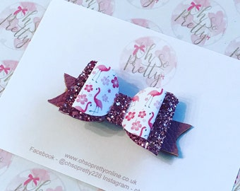Flamingo and Rose Gold Hair Bow