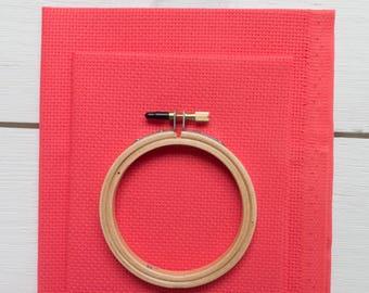 Cross Stitch Fabric - 14 count Aida Cloth | 100% Cotton Cross Stitch Embroidery Aida Fabric - Riviera Coral (14 ct)