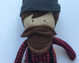 Buffalo Plaid Paul Bunyan...A Man Doll, Rag Doll, Boy Doll, Bearded Doll,