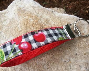 Cherry Keychain Wristlet, Cherry Keyfob, Cherry wristlet, Cherry key holder, Gingham keychain, Teachers gift