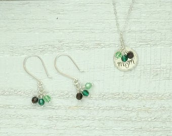 Mom Necklace and Earrings Set with Family Birthstones -  Personalized Mother's Day Gift Set with Children's Birthstones - Birthday Gift