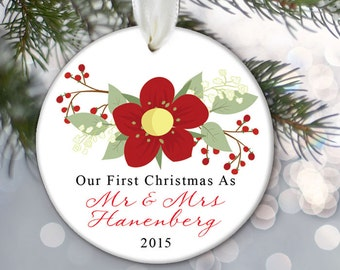 Our First Christmas as Mr & Mrs Personalized Christmas Ornament Christmas Gift Floral Just Married present for newlyweds Bride Groom  OR246