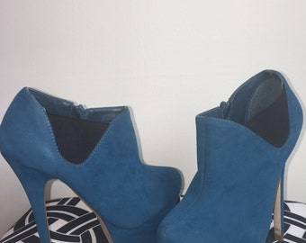 Turquoise Suede Heels