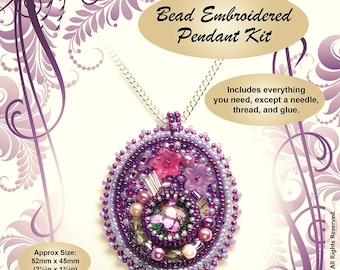 "Bead Embroidered Pendant Kit -  ""Enchanted"" -  Suitable for complete beginners"