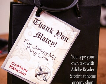 Pirate Tags, Pirate Thank You Tags, Pirate Favor Tags,  Pirate Birthday Tags, Pirate Birthday Party, Pirate Gift Tags, Printable Tags