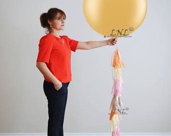 "Champagne, Custom Tail Tassel, Balloons, Wedding Balloons, 36"" Balloons, Birthday, Tail Tassel, Ivory, Orange, Pink / Candlelight Blush"