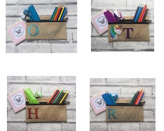 Personalised pencil case, back to school, stocking filler, college stationery, uni stationery, wedding favours, party favours