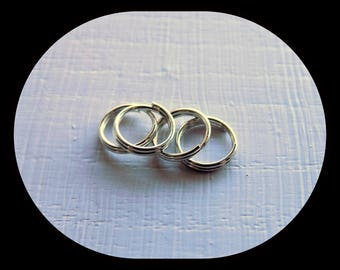 Jump rings split with 8 mm silver metal (5)