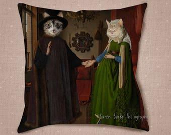 Mariée et le marié chats, Van Eyck, Arnolfini Portrait, Maine Coon Cats