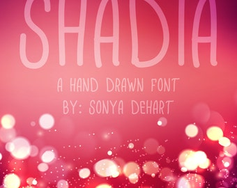 80% OFF SALE Shadia, Cute Font, Hand Written Font, Downloadable Font, Handwriting Font, Font Download, Digital Font, Font