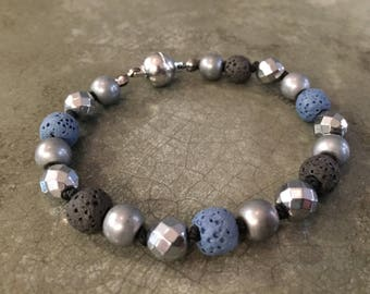 Essential Oil Diffuser Lava Stone Aromatherapy Bracelet Magnetic Clasp