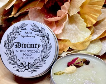 Divinity Solid Perfume~Salve, Goddess magick, feminine, witchcraft oils, tarot catds, runes, altar tools, witch beauty, pagan, Moon Goddess