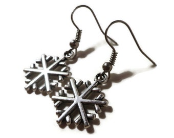 Snowflake Charm Earrings, Antique Silver Snowflake Earrings, Christmas Earrings, Holiday Jewelry, Winter Earrings, Women's Dangle Earrings